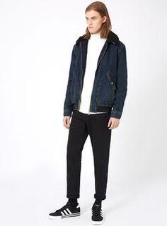Blouson aviateur en jean indigo avec col en peau lainée synthétique