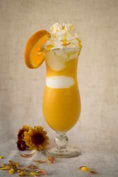 Drink - Food photography  Orange drink with ice cream