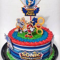 Bolo do sonic redondo Sonic Birthday Cake, Birthday Cake Roses, Sonic Birthday Parties, Minecraft Birthday Cake, Sonic Party, 5th Birthday, Bolo Sonic, Sonic Cake, Sonic Adventure
