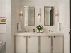 metal trimmed cabinets  gorgeous vanity #bathroom