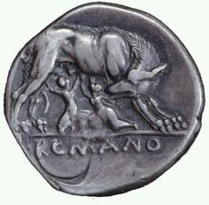 A coin that shows the she-wolf nursing Romulus and Remus. This image was integral to the identity of the Ancient Roman people and was incorporated in architecture, coinage, etc. Antique Coins, Old Coins, Ancient Rome, Ancient History, Romulus And Remus, Gold And Silver Coins, She Wolf, Roman History, Roman Art