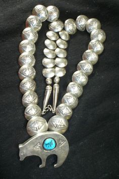 ORNATE NAVAJO STERLING SILVER PILLOW BEAD NECKLACE NATIVE AMERICAN DEAD PAWN