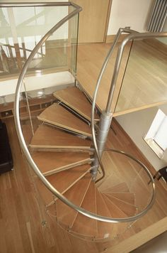 Glass and Wood Spiral Stairs