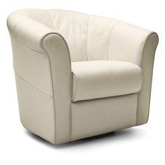Chloe swivel chair in white.