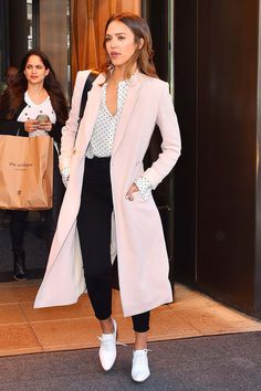 What to wear to work this week? Try a blush coat, black ankle pant and bright white oxford shoes back to core closet pieces like a printed  blouse and shoulder b