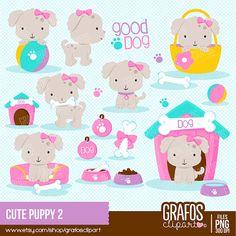 CUTE PUPPY   - Digital Clipart Set, Imagenes Perros, Perros Clipart, Imagenes Mascotas.