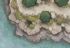 The Sheer Plateau, a battle map for D&D / Dungeons & Dragons… Pathfinder Maps, Dungeon Maps, Dungeon Tiles, Adventure Map, Island Map, Tabletop Games, Tabletop Rpg, Fantasy Map, Custom Map