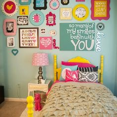Girls bedroom.  orange, yellow, turq