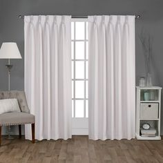 ATI Home Sateen Pinch Pleat Woven Blackout Back Tab Curtain Panel Pair