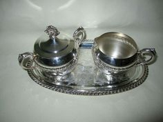 VTG REGENCY Oval Tray Etched Silver with Cream & Covered Sugar Set Gadroon Trim  #Regency