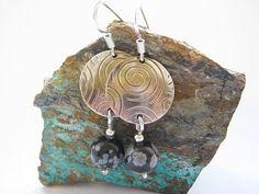"""Silver Obsidian Earrings 1 1/2"""" / Obszidián és ezüst fülbevaló 4 cm."""