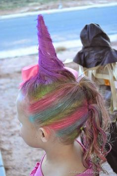 Did unicorn hair for Halloween! - Did unicorn hair for Halloween! Did unicorn hair for Halloween! Crazy Hair For Kids, Crazy Hair Day At School, Crazy Hair Day Girls, Little Girl Hairstyles, Hairstyles For School, Cute Hairstyles, Kids Girl Haircuts, Toddler Hairstyles, Natural Hairstyles
