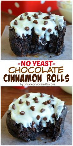 Chocolate Cinnamon Rolls - These easy NO YEAST rolls filled with chocolate and cinnamon are the best way to start any day. They are ready in less than an hour! Just Desserts, Delicious Desserts, Dessert Recipes, Yummy Food, Breakfast Recipes, Breakfast Muffins, Breakfast Cake, Chocolate Roll, Chocolate Desserts