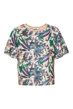 Tropical flower print square cut top. Matching shorts available. Fit loose intended. Be on trend with this tropical print top - mix and match with your existing wardrobe.   Tassa T-Shirt  by Soaked in Luxury. Clothing - Tops - Short Sleeve Clothing - Tops - Tees & Tanks Bromley, South London, London