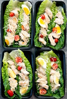 Chicken Caesar Salad in lettuce wrap form for weekly meal prep. They are served with a skinny homemade Caesar salad dressing and whole romaine lettuce leaves, so that they can be eaten taco-style.