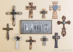 The inspirational custom-framed artwork serves as a beautiful reminder of the importance of faith in our everyday lives. Cross Wall Collage, Cross Wall Decor, Crosses Decor, Wall Crosses, Mosaic Crosses, Arte Country, Cross Art, Inspiration Wall, New Wall