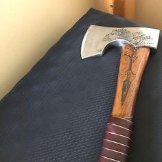 Bearded Viking camp axe