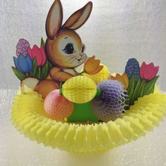 VTG 1973 Beistle Honeycomb Tissue Easter Bunny Spring  Decoration Centerpiece