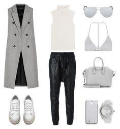 """Leather Joggers + Waistcoat"" by fashionlandscape ❤ liked on Polyvore featuring rag & bone, R13, Theory, Acne Studios, Madewell, Christian Dior, Topshop, Lucien Piccard and Givenchy"