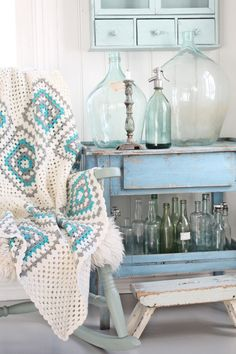cottage by the sea in sea glass colors