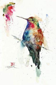 Watercolor Hummingbird, Hummingbird Art, Watercolor Bird, Watercolor Animals, Watercolor Paintings, Canvas Art Prints, Canvas Wall Art, Bee Painting, Sunflower Art