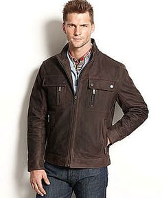 See when MICHAEL Michael Kors Jacket, Lowell 4-Pocket Leather Moto Jacket - Coats & Jackets - Men - Macy's is on sale - TrackIf