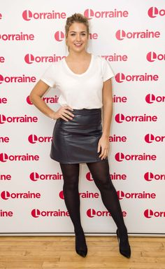 Emmerdale Actors, Gemma Atkinson, Black Leather Mini Skirt, Strictly Come Dancing, Lovely Legs, Stunning Women, Leather Dresses, Black Tights, Rock