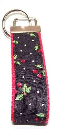 Cherries Key Fob Key Ring Wristlet Key by GabbysQuiltsNSupply, $5.00
