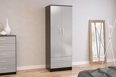 BIRLEA LYNX 2 DOOR COMBI WARDROBE, BLACK & GREY