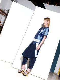 Look 8 Danielle Romeril Spring Summer 2013 Duster Coat, Stylists, Spring Summer, Textiles, Fabric, Metallic Blue, Jackets, Collection, Fashion