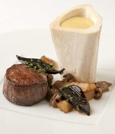 This richly satisfying beef with bone marrow recipe combines the intense flavours of beef, oyster and mushroom flavours - Pascal Aussignac