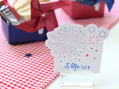 """Guarantee they'll be asking for s'more with this print and cut placeholder and easily foldable treat box. """"Meet the Maker"""": Celebration Shoppe – 4th of July 