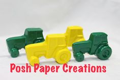 10 sets of 2 tractor crayons in cello bag by poshpapercreations, $13.00