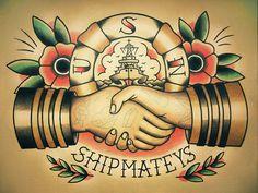 Marinaio Handshake tradizionale Tattoo Flash di ParlorTattooPrints