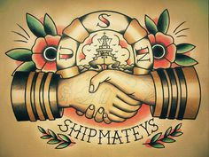 Sailor Handshake Traditional Tattoo Flash by ParlorTattooPrints