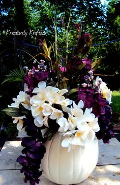 Wedding White / Cream & Purple Plum Eggplant Pumpkin Centerpiece Table Arrangement by KreativelyKrafted