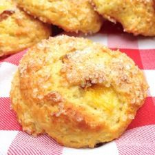 Tender Peach Scones: King Arthur Flour - A drop scone//disregard the quantity of eggs attached above. It only calls for 2 eggs, lol.