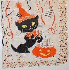 Vintage Halloween Tableware ~ Black Cat & Jack O' Lantern Cauldron Napkin