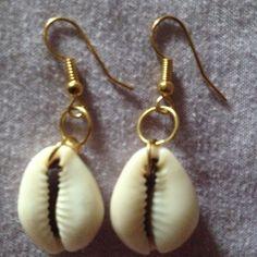 Ivory Cowrie Shell Earrings with Gold hooks #Handmade #DropDangle