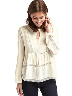 Gap embroidered trim peasant blouse