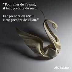 """""""Pour aller de l'avant,  il faut prendre du recul. Car prendre du recul,  c'est prendre de l'élan."""" (MC Solaar) #citation #changement"""