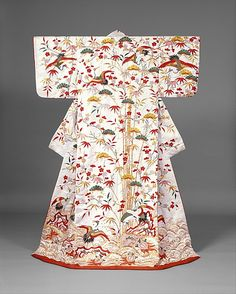 Outer Robe (Uchikake) with Theme of Mount Hōrai Period: Edo period (1615–1868) Date: second half of the 18th century–first half of the 19th century Culture: Japan Medium: Silk and metallic thread embroidery on silk satin damask with stencil-dyed details Accession Number: 1970.296.1
