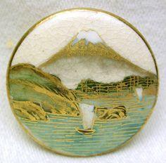 "Vintage Satsuma Button Boat on Lake  Mt Fuji Scene - Gold Accents 1  3/16""  Circa 1920-40. Very good condition.  SOLD $44.76"