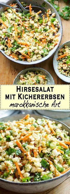 Hirsesalat mit Kichererbsen auf marokkanische Art A simple and aromatic recipe for millet salad with chickpeas and Moroccan style with carrots, roasted nuts and a sweetish taste of the dried fruits. The salad is a (vegan curry) Easy Healthy Recipes, Vegetarian Recipes, Easy Meals, Vegetable Soup Healthy, Vegetable Recipes, Soup Recipes, Salad Recipes, Vegan Curry, Spaghetti Recipes