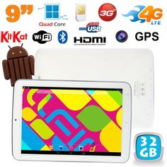 Tablette tactile 4G 9 pouces 3G Android 4.4 Bluetooth GPS Blanc. http://www.yonis-shop.com/tablette-tactile-4g/2093-tablette-tactile-4g-3g-9-pouces-wifi-bluetooth-gps-android-32go-blanc.html