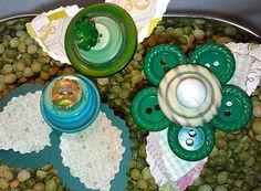 Green Button Flowers ~ Gift for Seamstress ~ Craft Room Decor ~ Boho Art ~ Button Art ~ Gift for Her ~ Girls Bedroom Decor ~ Bohemian Art