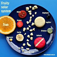 Solar system made from food. Great snack idea to go with a solar system unit. Earth And Space Science, Science For Kids, Science Lessons, Science Projects, School Projects, Fair Projects, Science Fair, Solar System Projects For Kids, Space Food