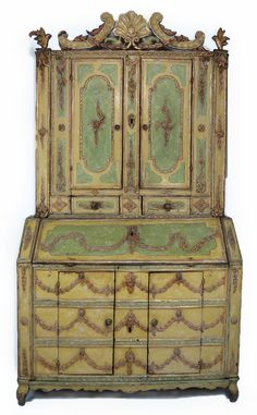 18TH C. VENETIAN PAINT DECORATED TWO-PART SECRETARY