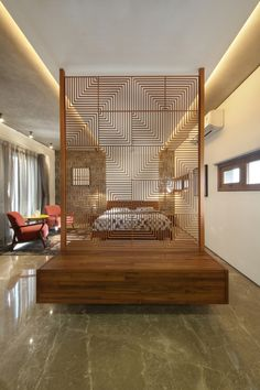 Gallery of The Cube House / Reasoning Instincts Architecture Studio - 12 Modern design properties Living Room Partition Design, Room Partition Designs, Room Divider Walls, Fabric Room Dividers, Bungalow Interiors, Romantic Bedroom Decor, Rustic Living Room Furniture, Interior Architecture, Interior Design