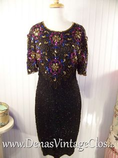 a9903788f0 80s Vintage Black Pink Blue Gold Silk Beaded Sequin Prom Party Cocktail  Dress Sz M L